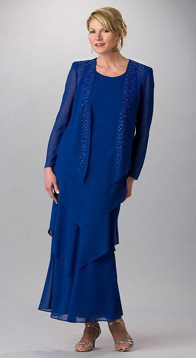 ... Blue Plus Size Mother of The Groom Formal Dresses with Long Sleeves