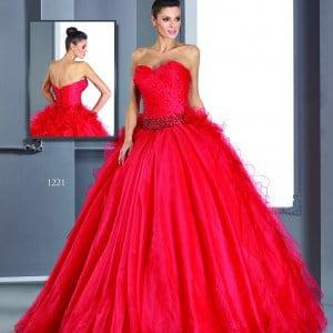 strapless red ball gowns