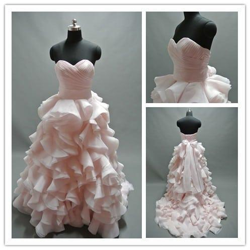 Pastel pink colored bridal ball gowns darius cordell for Pastel colored wedding dresses