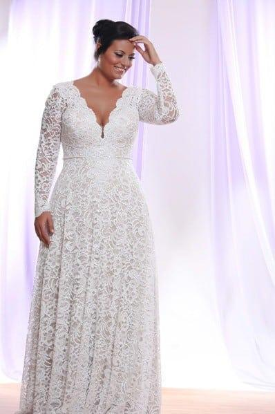 Style ps1412 1950 plus size wedding dresses with for Long sleeve plus size wedding dress