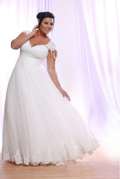 Silk Tulle Plus Size Wedding Dress With Cap Sleeves