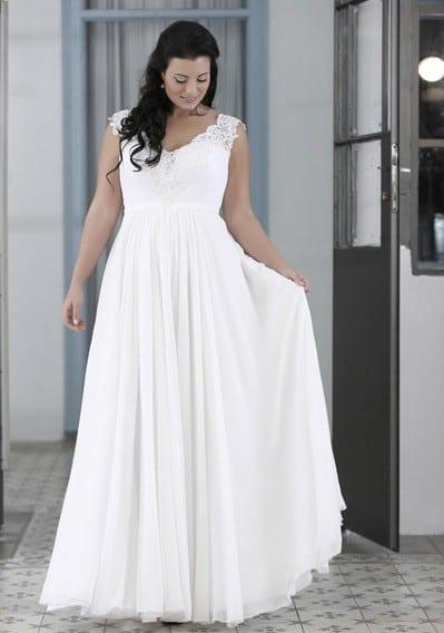 Empire waist chiffon plus size wedding dresses eligent for Plus size beaded wedding dresses