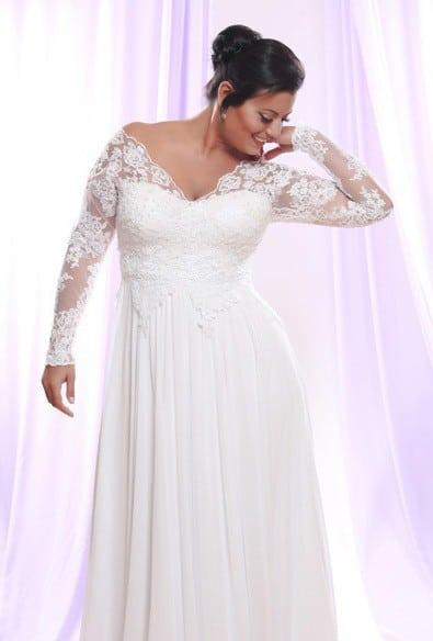 Style ps148 1650 soutage lace wedding dress with long for Long sleeve plus size wedding dress
