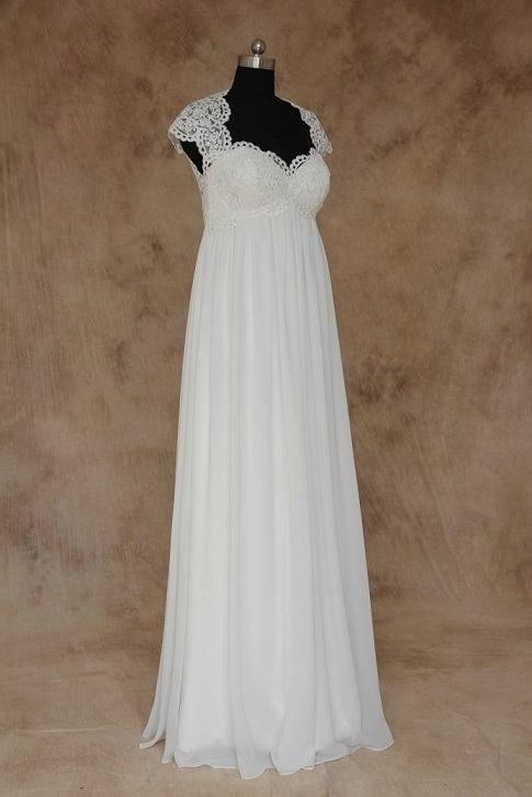 Empire waist plus size wedding dress with sleeves plus for Empire waist plus size wedding dress