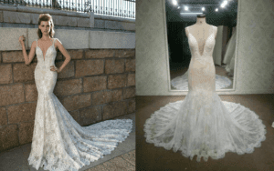 Berta Inspired lace wedding dress made by dress designer Darius Cordell