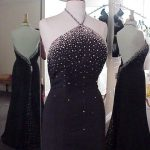 black halter evening gowns