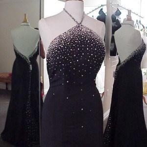 black halter evening gowns