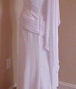 one shoulder white plain wedding dress