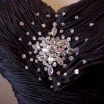 Crystal beading on evening wear