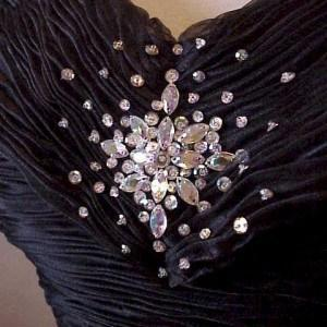 Crystal beading on evening wear