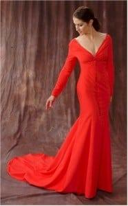Red Long Sleeve evening dresses