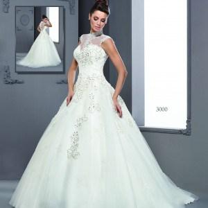 Style T3000 Sleeveless halter wedding gowns with high collar