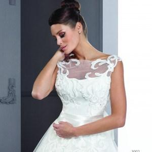Style T3002 - Custom Wedding Dresses with Illusion Necklines