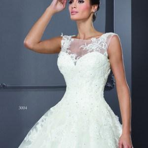 unique Bridal Gowns with Illusion Necklines