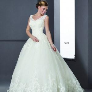 Style T3021 - Sleeveless V-Neck Wedding Dresses with beaded lace