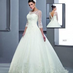 Style T3025 long 3/4 length sleeved wedding dresses