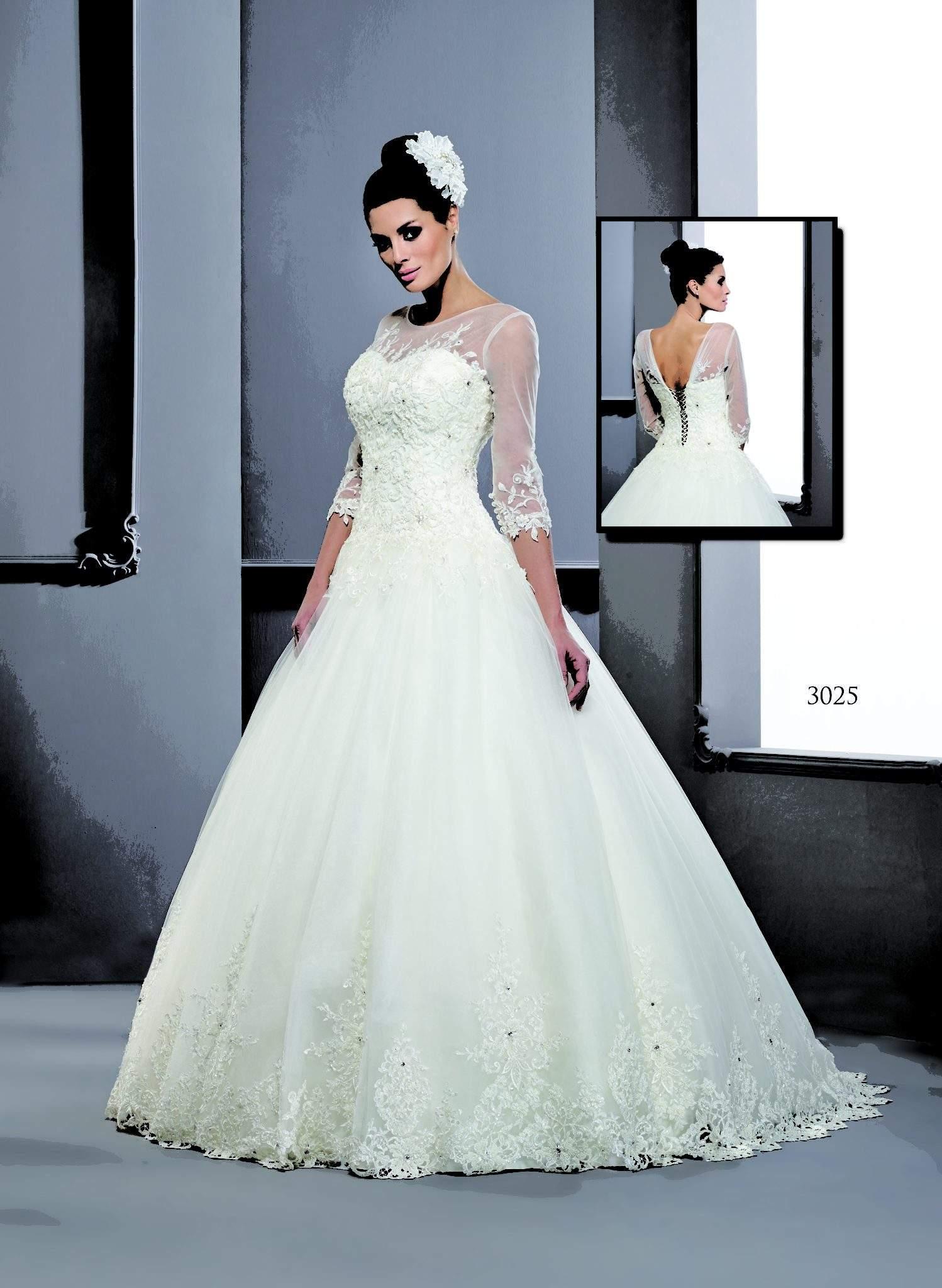 Three Quarter Sleeve Wedding Dresses - Darius Cordell Fashion Ltd