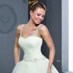 Style T3027 - Ruched Designer Wedding Dresses with Shoulder Straps