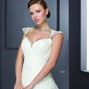 Style T3030 - Designer cap sleeve wedding gowns for all sizes