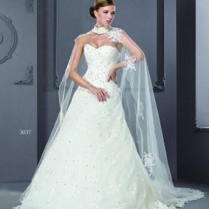 Style T3037 - Designer Wedding Gowns with Cape Cover Up Shawl
