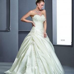 Style T3038 - Strapless Silk Satin Wedding Dresses with beaded lace
