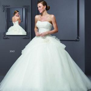 Style T3045 - Designer Wedding Gowns with Tiered ball gown skirts