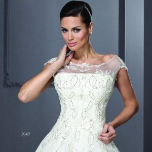 T3049 - Bateau Neckline Wedding Dresses with Cap Sleeves