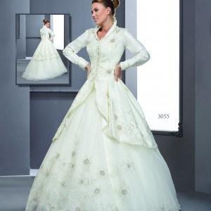 Style T3055 - Long Sleeve Coat Wedding Dresses