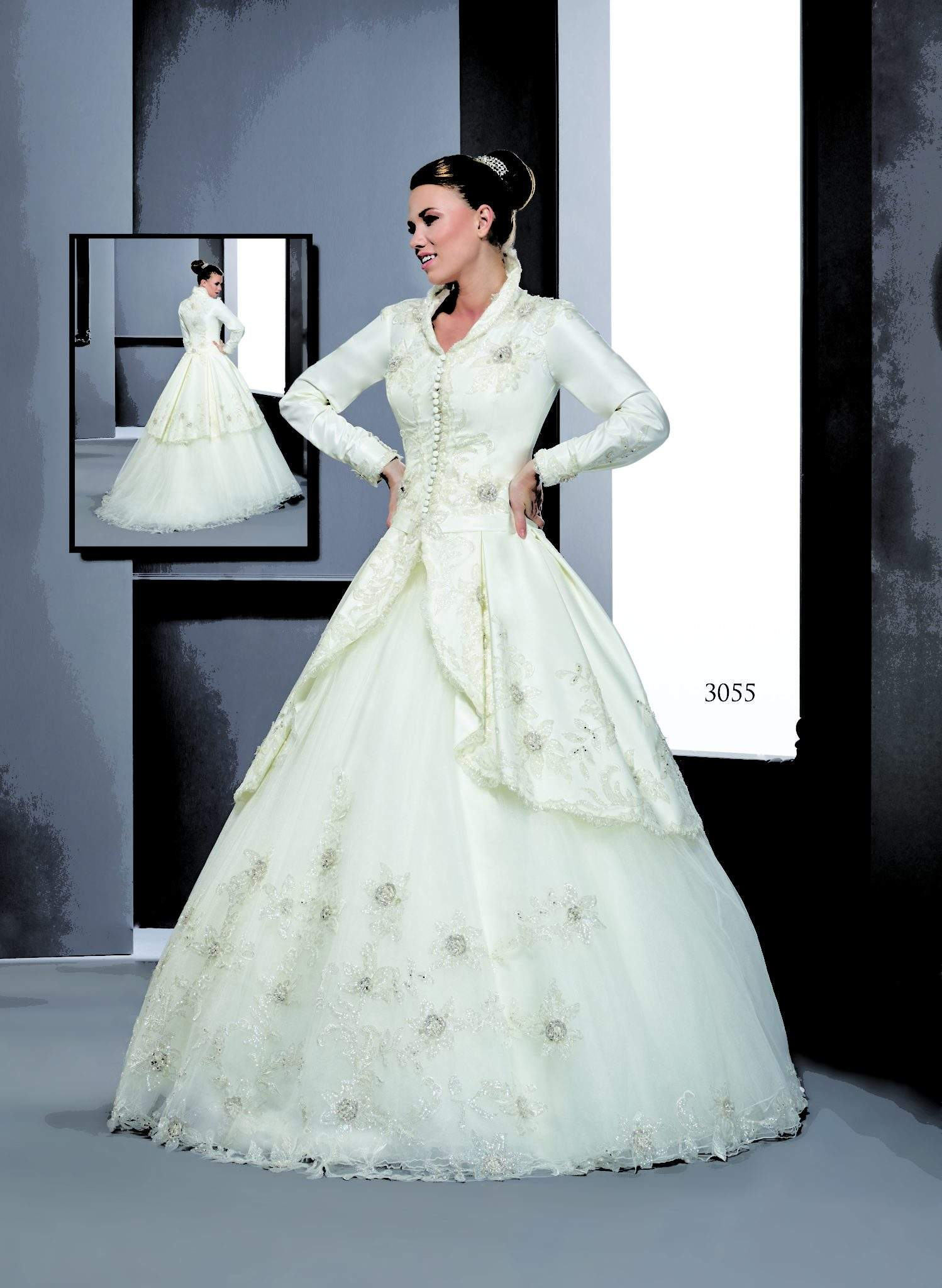 Style T3055 Long Sleeve Coat Wedding Dresses