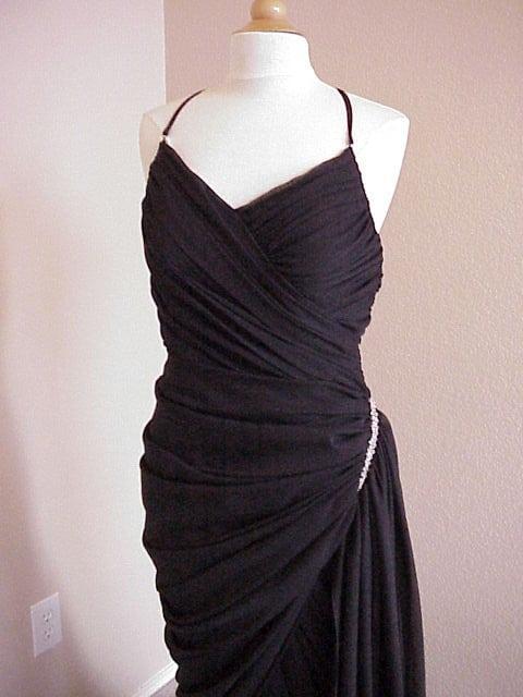 simple long black evening dress