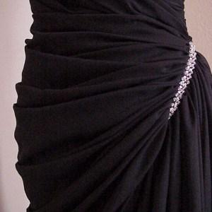 black gather pageant gowns