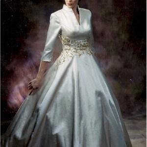 Style #B2028 - Three quarter length sleeve formal ball gowns