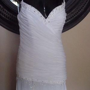 Ruched Pageant Dresses in White Chiffon