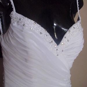 Ruched White Evening Gowns with Spaghetti Straps