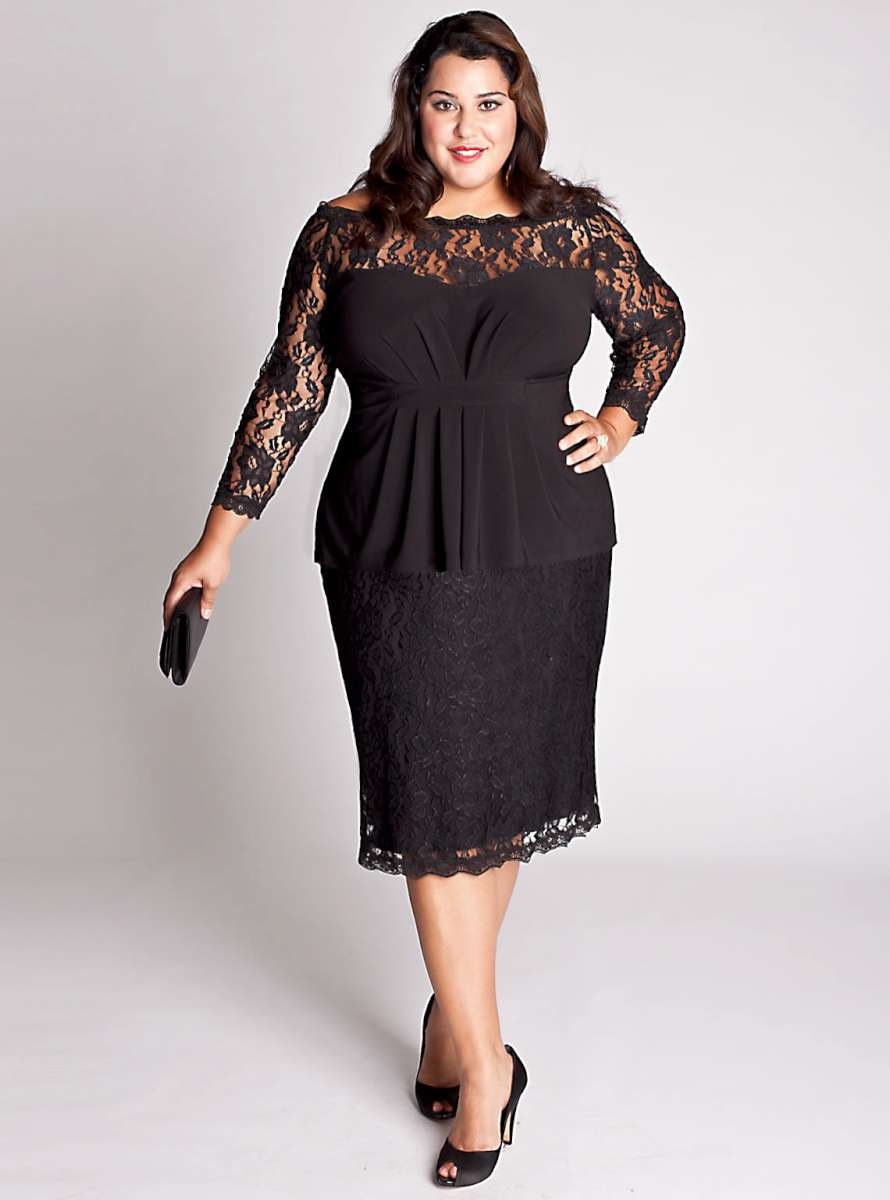 Black Lace Plus Size Cocktail Dresses from The Darius Collection