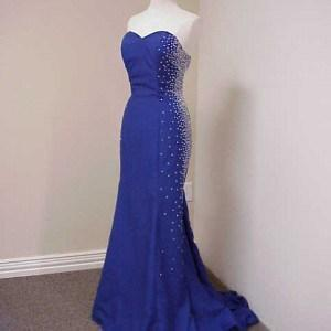 Blue Strapless Pageant Gowns