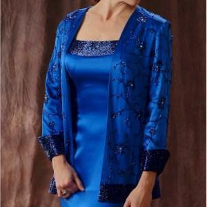 Style C494 Blue Mother of the Groom Evening Dresses with Long Sleeve Jacket