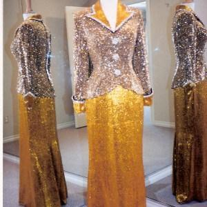 liquid beaded evening gowns with Long sleeves