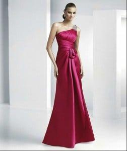 One Shoulder Satin Evening Dresses