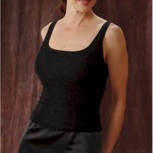 Style E86 Black Designer Evening Wear with scoop neckline