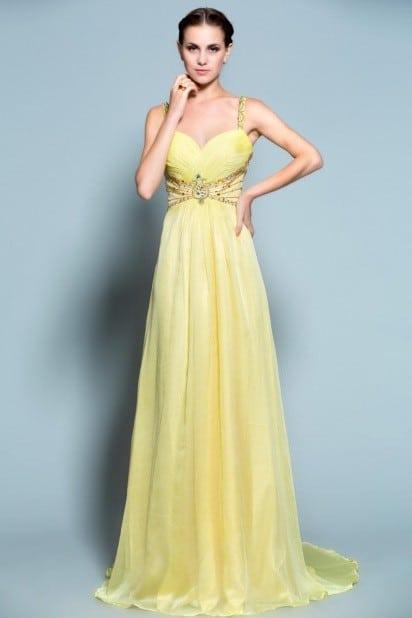 5468b7830a Empire Waist Yellow Evening Dresses from Darius Fashion