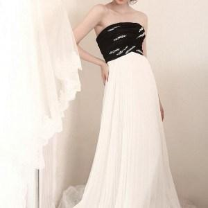 Style S506 - Black and White Empire Waist Special Occasion Evening Gowns