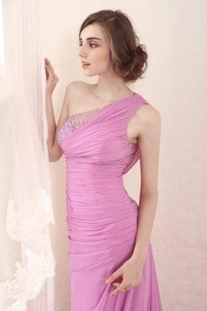 Pink Evening Dresses with One Shoulder