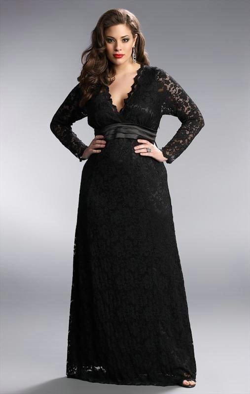 Black Lace Long Sleeve Plus Size Formal Dresses