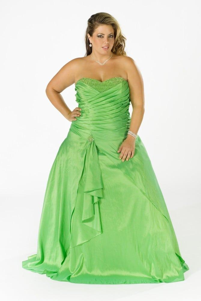 Strapless Bright Green Plus Size Formal Ball Gowns For Prom
