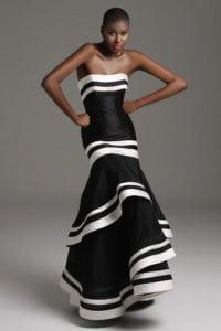 black and white strapless evening gowns - darius cordell