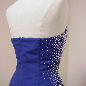 backless blue beading gown