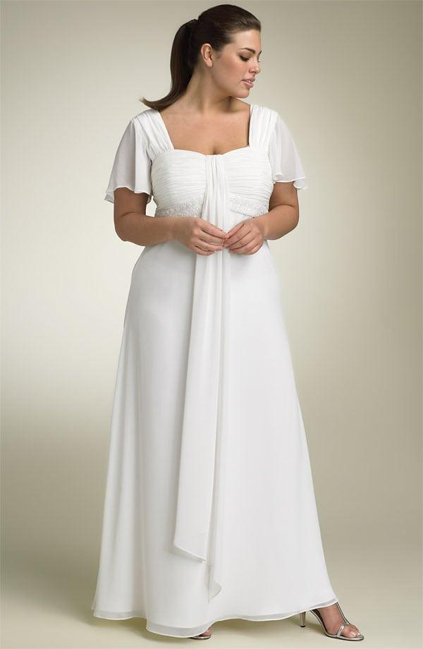 Plus size wedding dresses with flutter sleeves from darius for Flutter sleeve wedding dress