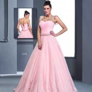 Style #1194 pink bal gowns w belt and straps
