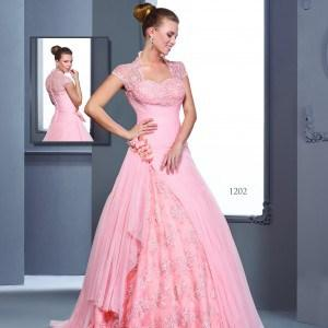#1202 modest ball gowns with short sleeves
